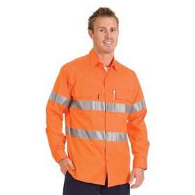 'DNC' HiVis 3 Way Cool Breeze Long Sleeve Cotton Shirt with 3M Reflective Tape
