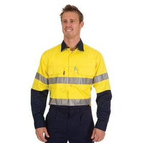'DNC' HiVis Two Tone 3 Way Cool Breeze Long Sleeve Cotton Shirt with 3M Reflective Tape