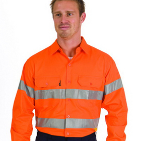 'DNC' HiVis Cool Breeze Long Sleeve Cotton Shirt with Generic Reflective Tape