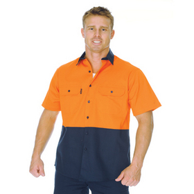 'DNC' HiVis Two Tone Short Sleeve Cotton Drill Vented Shirt