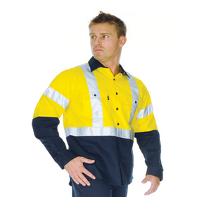 'DNC' HiVis Two Tone Long Sleeve Cotton Drill Vented Shirt with H-Pattern Generic Reflective Tape