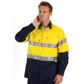 'DNC' HiVis Two Tone Cool-Breeze Long Sleeve Cotton Shirt with 3M Reflective Tape
