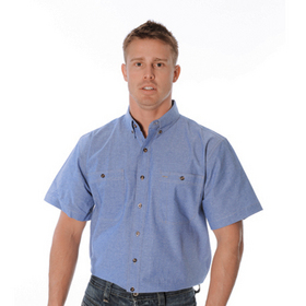 'DNC' Cotton Short Sleeve Chambray Shirt with Twin Pocket
