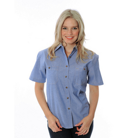 'DNC' Ladies Cotton Short Sleeve Chambray Shirt with Twin Pocket