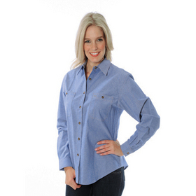 'DNC' Ladies Cotton Long Sleeve Chambray Shirt with Twin Pocket