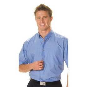 'DNC' Mens Polyester Cotton Short Sleeve Chambray Business Shirt