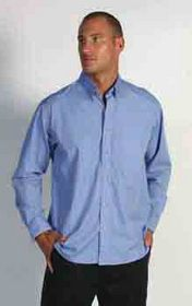 'DNC' Mens Polyester Cotton Long Sleeve Chambray Business Shirt