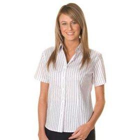 'DNC' Ladies Stretch Yarn Dyed Contrast Stripe Short Sleeve Shirt