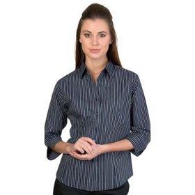 'DNC' Ladies Stretch Yarn Dyed Contrast Stripe ¾ Sleeve Shirt