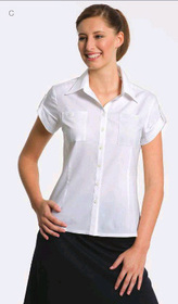 ** CLEARANCE ITEM ** - 'Totally Corporate' Ladies Stretch Short Sleeve Blouse