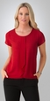 'City Collection' Ladies Cascade Knit/Woven Stretch Knit S/S Top