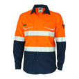 'DNC' HiVis RipStop Two Tone Long Sleeve Cool Cotton Shirt with CSR Reflective Tape