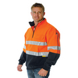 'DNC' HiVis Two Tone ½ Zip Cotton Fleecy V-Neck Windcheater with 3M Reflective Tape