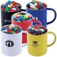 'Logo-Line' Assorted Colour Mini Jelly Beans in Double Wall Stainless Steel Coloured Mug