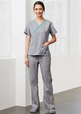 'Biz Collection' Contrast Ladies Scrubs Crossover Top