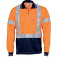 'DNC' HiVis D/N Cool Breathe Long Sleeve Polo Shirt with 'X' Back R-Generic Tape