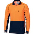 'DNC' HiVis Cotton Back Cool -Breeze Long Sleeve Contrast Polo