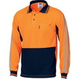 'DNC' HiVis Cool-Breathe Long Sleeve Stripe Polo