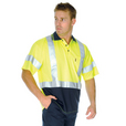 'DNC' HiVis D/N Cool Breathe Short Sleeve Polo Shirt with Cross Back R-Generic Tape