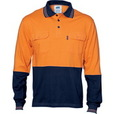 'DNC' HiVis Cool-Breeze 2 Tone Cotton Jersey Long Sleeve Polo Shirt with Twin Chest Pocket