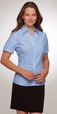 'City Collection' Ladies Cap Sleeve Shadow Stripe Blue Shirt