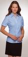 'City Collection' Ladies Cap Sleeve Shadow Stripe Blue Shirt