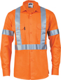 'DNC' HiVis D/N Cool Breeze Close Front Long Sleeve Cotton Shirt with 'X' Back and Additional Generic Reflective Tape