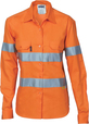 'DNC' Ladies HiVis Cool-Breeze Long Sleeve Cotton Shirt with 3M Reflective Tape