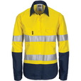 'DNC'  Ladies HiVis Cool-Breeze Long Sleeve Cotton Shirt with CRS Reflective Tape