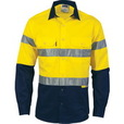 'DNC' HiVis D/N Two Tone Long Sleeve Cotton Drill Shirt with 3M 8910 Reflective Tape