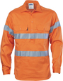 'DNC' HiVis D/N Cool Breeze Close Front Long Sleeve Cotton Shirt with Generic Reflective Tape