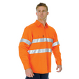 'DNC' HiVis Cool Breeze Vertical Vented Long Sleeve Cotton Shirt with 3M Reflective Tape