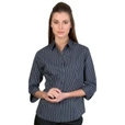 ** CLEARANCE ITEM ** 'DNC' Ladies Stretch Yarn Dyed Contrast Stripe ¾ Sleeve Shirt