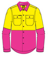 'Workcraft' Kids HiVis 2 Tone Long Sleeve Shirt