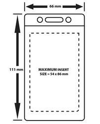 CHFV01  Flexible card holder Vertical - Portrait format. Clear PVC Insert 60 x 86 mm