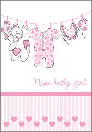 New baby girl clothesline with stripes extras perth greeting new baby girl clothesline with stripes m4hsunfo