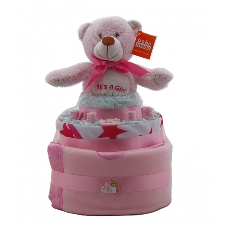 Nappy Cake Pink Bear Small Baby Gifts Nappy Cakes