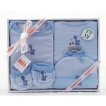 4 Piece Organic Cotton Clothing Set ~ Blue Giraffe