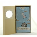 5 Piece Organic Cotton Clothing Set ~ Blue Giraffe