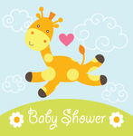 Baby Shower Giraffe Heart