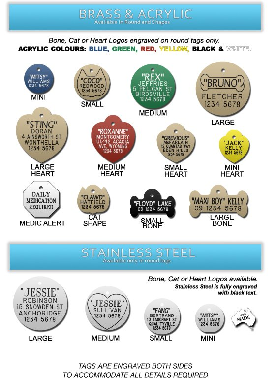 brass and acrylic pet tags